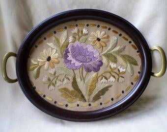 Antique Brass Handled Tray with Silk Embroidery-1900's