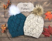 The Catamount Beanie Pattern- Chunky Knit Hat Pattern, Two Fit Options-Two Yarn Options