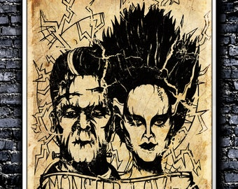 Vintage Monster Love - A4 Signed Art Print (Inspired by The Bride Of Frankenstein)