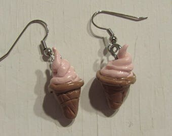 Strawberry Ice Cream Polymer Clay Earrings
