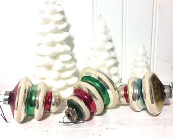 3 Mercury Glass Atomic Christmas Ornaments