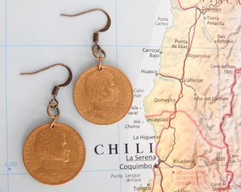 Chile coin earrings - made of coins from Chile - wanderlust - travelgift - Fernweh
