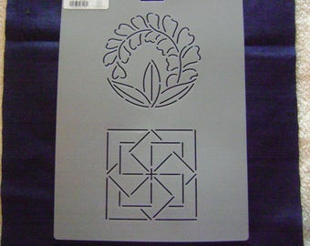 Sashiko Japanese Quilting/Embroidery Stencil 4.25 in. and 4 in. Wisteria Plume and Folding Fans Motif Block/Quilting