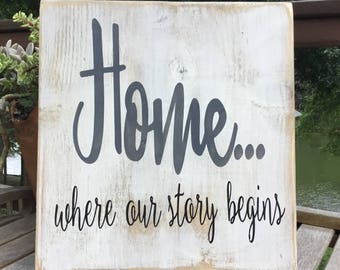 home, where our story begins,Gallery Wall Decor,Family quote,Inspirational sign,farmhouse sign,wood sign saying,home sign,family wood sign