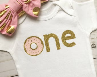 Donut First Birthday Onesie, Donut First Birthday Outfit, First Birthday Outfit, Baby Girl First Birthday, Donut, Coffee, and Latte Onesie
