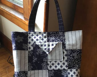 Charm Square Tote, Patchwork Tote, Quilted Tote,  Bag, Purse, Totes, Tote Bag,  Shopper Tote, Low County Indigo, contemporary