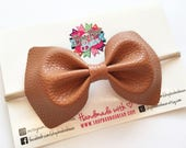 Cognac Faux Leather Bow, Brown Baby Bow, Baby Bow Headband, Faux Leather Bows, Faux Leather Hair Bow, Cognac Baby Headband, Baby Shower Gift