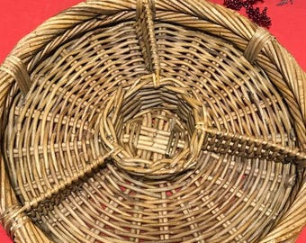 Vintage Large Wicker Platter  Round Platter With Compartments Chips and Dip Platter