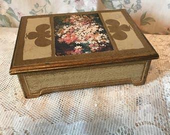 Vintage Shabby Chic trinket jewelry box
