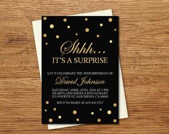 Shhh It's a Surprise Birthday Invitation/Printable Gold & Black Birthday Invitation Template/e-card/20th/30th/40th/50th/60th/70th/80th/90th