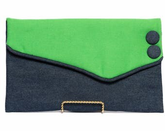 Asymmetric Denim envelope clutch bag