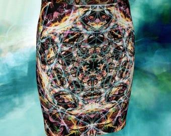 Metatron Festival Skirt - Boho Skirt - Tribal Clothing - Psychedelic Skirt - Sacred Geometry Clothing - Psytrance - Visionary Hippie Skirt