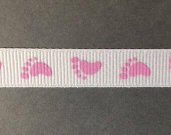 5/8 in. Baby Footprint Grosgrain Ribbon
