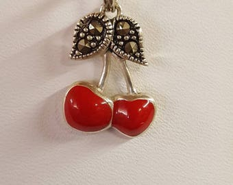 Sterling silver cherry charm / pendent
