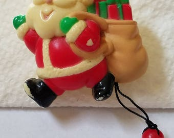 Vintage Russ Santa Claus Pin, Mechanical Christmas Pin