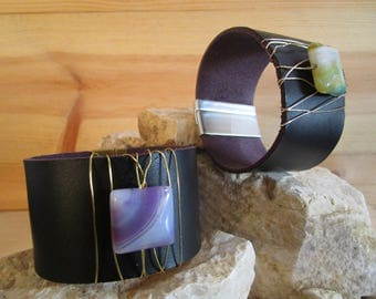 Leather band bracelet with magnetic clasp