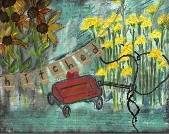 "Art Print - mixed media - yarrow - sunflowers - wagon - ""Hitched"" - blue - yellow - wall decor - banner - wedding"