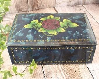 Vintage Tin, Vintage Storage Tin, Vintage Blue Tin, Blue Storage Tin