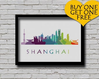 Cross Stitch Pattern Shanghai China City Silhouette Rainbow Watercolor Painting Effect Modern Decor Embroidery City Skyline Xstitch