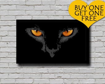 Counted Cross Stitch E Pattern Grey Cat Face Animal Digital Downloadable Pattern All Cats are Grey in the Dark Cats Eyes at Night