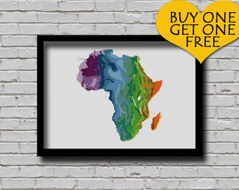 Cross Stitch Pattern Africa Map Watercolor Painting Effect Embroidery Modern Ornament Country Xstitch Continent Pattern