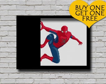 Cross Stitch Pattern Spiderman Printable Pattern Superhero Xstitch Pattern Wall Art Diy Gift Spiderman Movie Marvel Comics