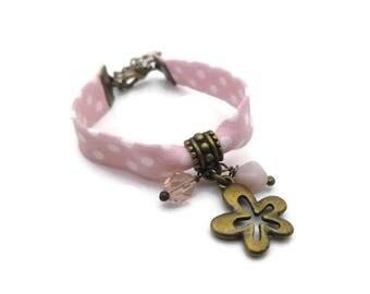 Bracelet ENFANT biais à pois rose