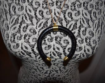 Black Crescent Pendant with Grooves