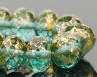 Czech Glass Beads - Czech Glass Rondelles - Aquamarine (Green) Transparent with Antique Gold Finish - 9x6mm - 25 Beads