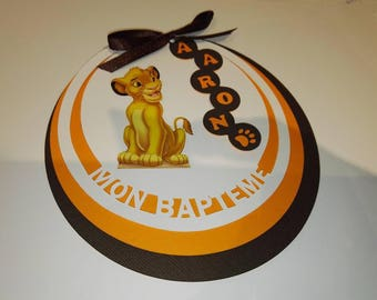 "Set of 10 invitations round ""My baptism"" lion king"