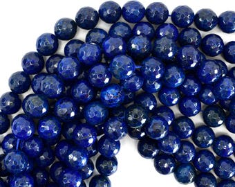 """12mm faceted blue lapis lazuli round beads 15"""" strand 39250"""