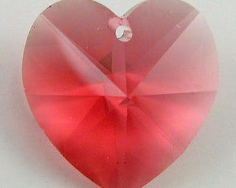 18mm Swarovski crystal heart pendant 6202 padparadscha 2718