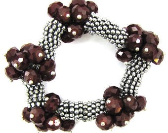 "Crystal silver plated daisy stretch bracelet 7"" red 11834"
