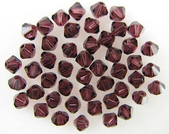 48 4mm Swarovski crystal bicone 5301 Burgundy beads 7770
