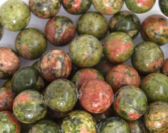 """10mm unakite jasper round beads 15.5"""" strand 35710"""
