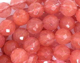 "10mm faceted cherry quartz round beads 15"" strand 35718"