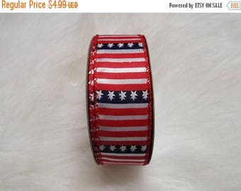 SALE CLEARANCE! 1.5 X 20yrds - Patriotic Ribbon, 4th of July Ribbon, Wired patriotic ribbon, Usa Ribbon, flag ribbon, fourth of july ribbon
