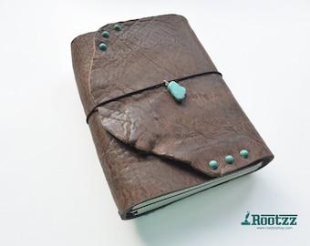 A5 Big chunk cognac travelers notebook with turquoise  midori fauxdori dori - art journal