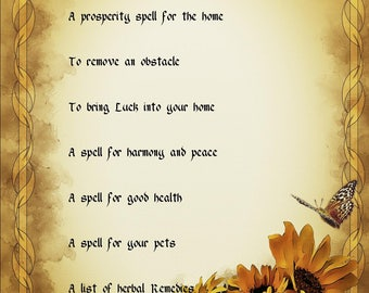 9 Sheets of Spells for the Home and Family