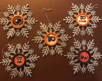 INVENTORY CLEARANCE SALE! Snowflake Christmas Ornament Set | Philadelphia Flyers | Set of 5