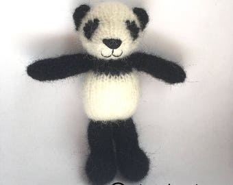Knitted mohair panda bear for baby, newborn photo props
