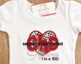 CHD Congenital Heart Defect  personalized short sleeve bodysuit or Shirt