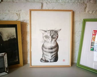 Cat. Nº 6. Original drawing. Pencil on paper. 29.5x21 centimeters. Gift, Christmas, petite illustration, cats, pets, animals.