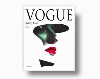 Vogue Print 1945, Vogue Cover, Fashion Cover, Couture Magazine, Vintage Vogue Cover, Fashion Illustration Vogue Poster Print