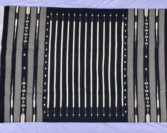 """4x6"""" Black and white Cotton Rug Dhurrie  (Fast shipping 7days)"""