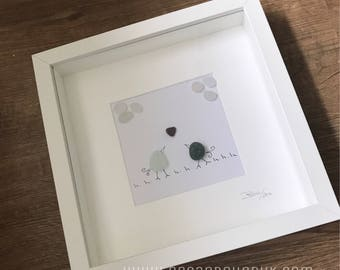 Love Birds. Picture Art with Genuine English Sea Glass. Ultra Rare Red Heart Sea Glass. Personalised and Customised. Handmade in the U.K.