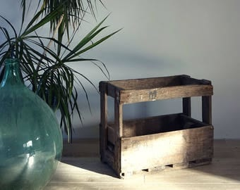 Old storage bottles wood - old crate for storage or decoration - old bottle rack
