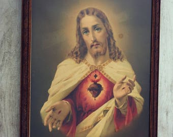 Frame vintage - JESUS - Holy picture - old framed religious picture - antique Catholic religious