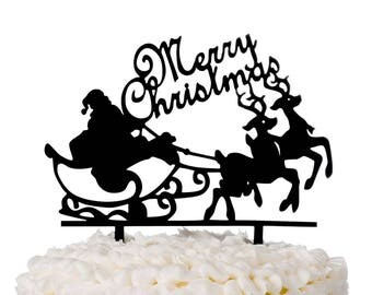 Merry Christmas Cake Topper Acrylic Party Decoration, Holiday Santa Reindeer