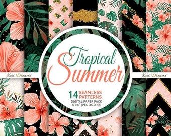 SALE 50% OFF Summer, Tropical Fashion Digital Paper, Watercolor Seamless Pattern, Vacation, Hibiscus, Sunglasses, Dark Skin, Leaves, Hawaiia
